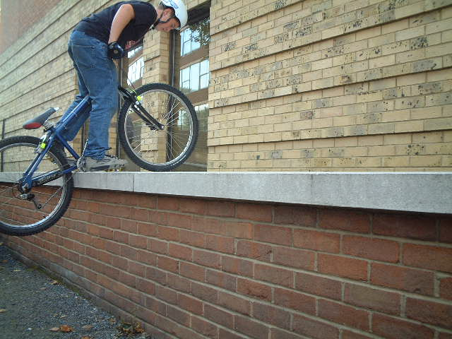 Connell on bash ring on high brick wall
